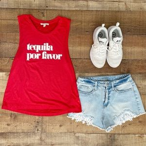 EXPRESS Graphic Ted Tank ❤️ TEQUILA